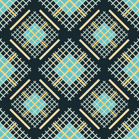 grille: Seamless abstract pattern of square colored grilles. Geometric vector print of multiple crossing lines forming grids Illustration