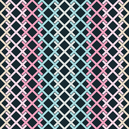 Seamless abstract geometric pattern of colored intersecting segments forming grid. Concatenated X shapes vector print