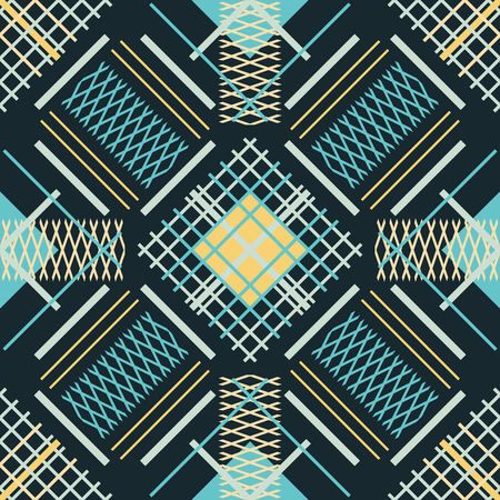 Seamless abstract geometric pattern of intersecting and parallel lines forming various gratings