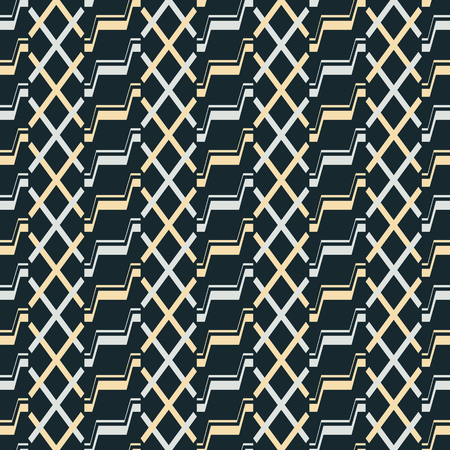 Seamless abstract pattern of stair step and X shaped geometric elements. Endless vector print
