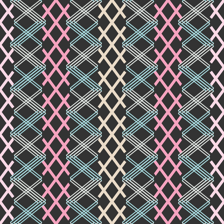 Seamless abstract geometric pattern of colored intersecting segments forming lattice. Concatenated X shapes vector print