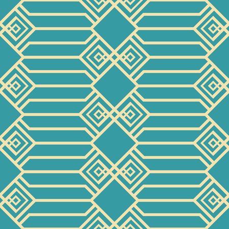Abstract seamless geometric pattern in blue and yellow colors. Large lattice with openwork elements. Vector tracery for fabric, paper and other Ilustração