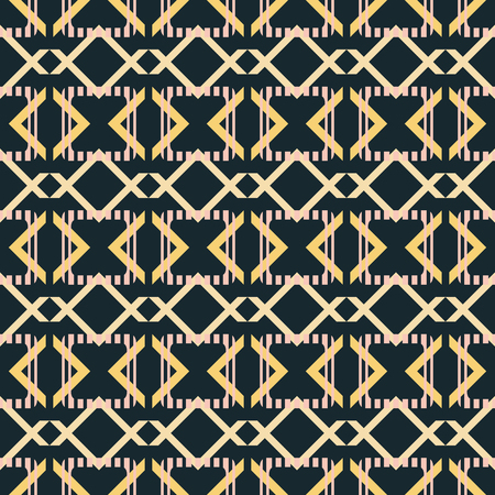 Abstract seamless pattern in blue-black, yellow, dusty pink colors. Striped rounded corners squares with crossed V shaped geometric elements Illustration