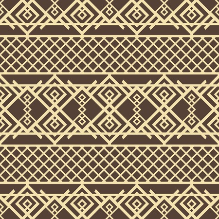 Abstract seamless geometric pattern of lattice with openwork oriental elements. Graceful vector tracery in brown and yellow colors