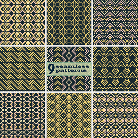 Set of seamless abstract patterns with V shaped geometric elements. Black, yellow, dusty pink colors. Collection of vector prints for fabric, paper and other Ilustrace