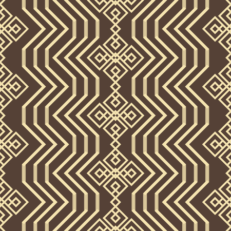 Abstract seamless geometric pattern in brown and yellow colors. Endless geometric vector tracery with openwork elements