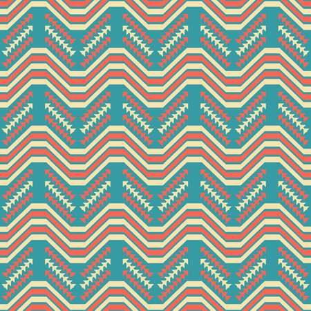 Abstract seamless geometric pattern of wavy and arrow shaped elements. Yellow, red and blue colors in American retro style