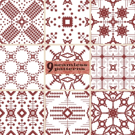 Set of seamless abstract geometric patterns. Contrasting embroidery prints. Collection of 9 vector illustrations
