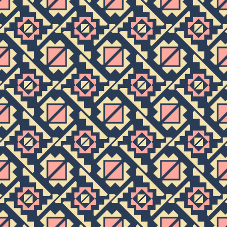 Abstract seamless geometric pattern of diagonal divided squares and polygonal shapes. Elegant fashion print in yellow, blue, pink colors