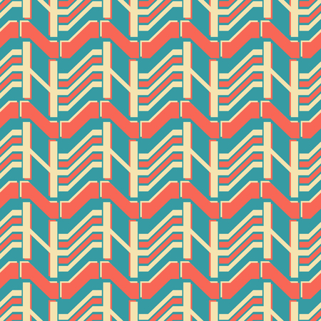 Abstract seamless geometric pattern in yellow, red and blue colors. American retro style vector print. Ilustrace