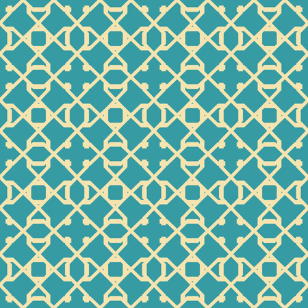 Abstract seamless pattern in blue and yellow colors. Intersecting geometric shapes forming lattice. Reklamní fotografie - 90456286