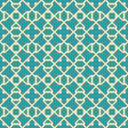 Abstraktes nahtloses Muster in den blauen und gelben Farben. Sich kreuzende geometrische Formen, die Gitter bilden. Standard-Bild - 90456286