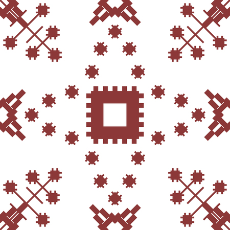 Abstract seamless geometric embroidery pattern. Contrasting vector print in red wine and white colors.