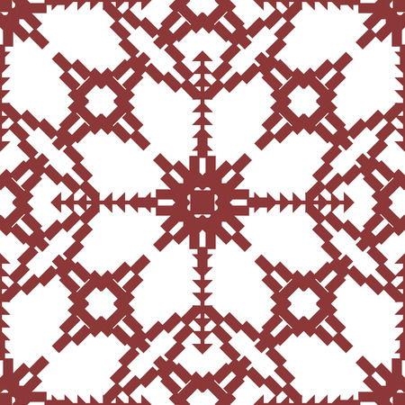 Abstract seamless geometric embroidery pattern in wine and white colors. Vector Illustration