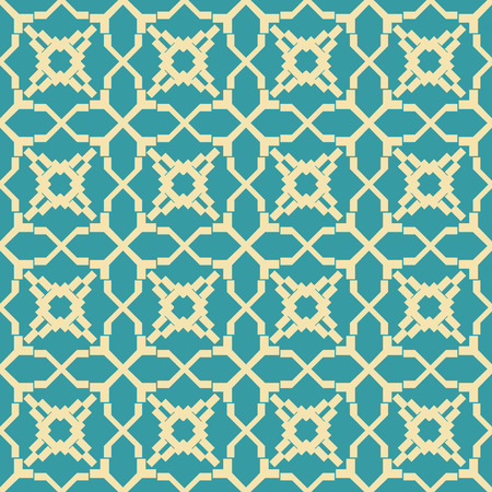 Abstract seamless geometric retro fashion pattern, yellow and blue colors. Beautiful figured lattice. Ilustração