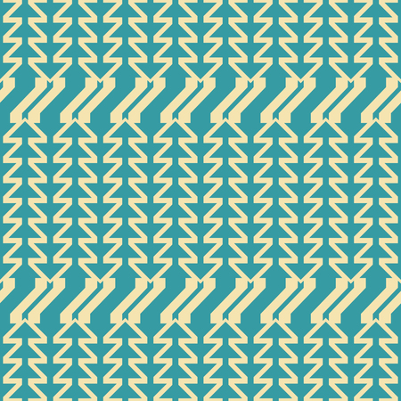 Abstract seamless geometric pattern of triangular arrow shaped elements. Yellow and blue retro colors. Ilustrace