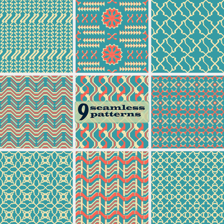 Set of seamless abstract geometric patterns. Pleasant retro color palette. Collection of vector prints for fabric, paper and other. Ilustrace