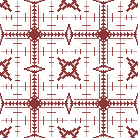 Abstract seamless geometric pattern with square cells of intersecting lines and polygonal shapes in red wine and white colors