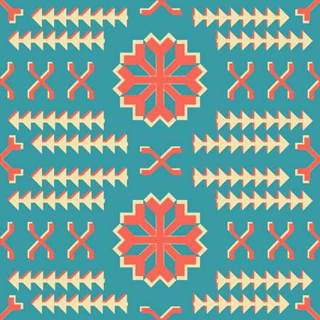 Abstract seamless geometric retro pattern with huge snowflake shaped figures Ilustrace