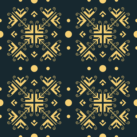 Abstract seamless pattern of convergent arrow shapes forming fantasy geometric flowers interspersed with dots. Graceful openwork vector tracery in golden color