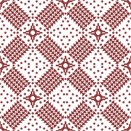 Abstract seamless geometric pattern with embroidery elements. Contrasting vector print in wine and white colors Ilustrace