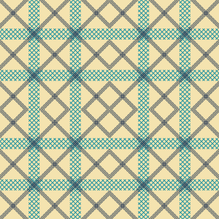 Abstract seamless geometric pattern in blue and yellow colors. Checkered vector print of lattice strips