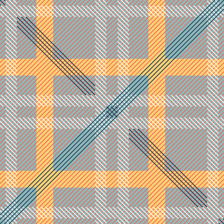 Abstract seamless geometric squared pattern. Checkered vector print of diagonal lines Illustration