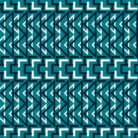 Abstract seamless geometric pattern in blue and white colors. Complex vector print with rectangular elements and triangles
