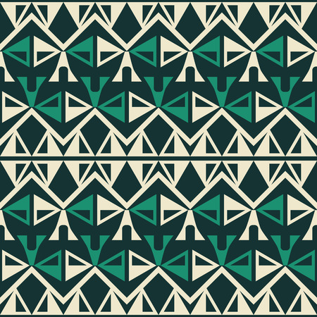 Abstract seamless geometric pattern in yellow and green colors with zigzags and triangular figures