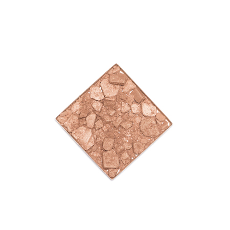 Cosmetic container of crushed compact bronzing face powder isolated on white background, close-up