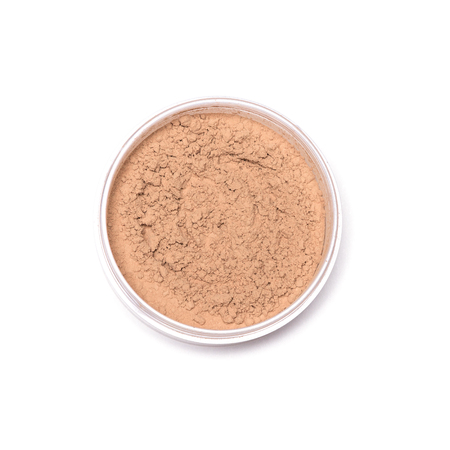 Jar of loose face powder isolated on white background, close-up