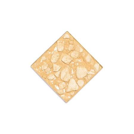 Cosmetic container of crushed compact golden shimmer face powder isolated on white background, close-up