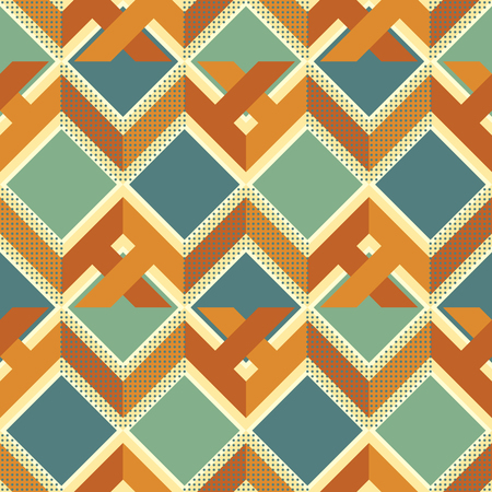 Seamless abstract geometric pattern of complex zigzag, squares and dots in retro color palette