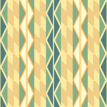 Seamless abstract geometric pattern of vertical stripes with zigzag and dots in retro color palette