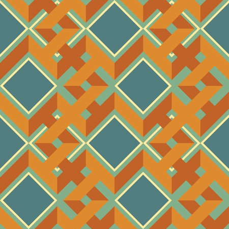Seamless abstract geometric pattern of complex interwoven zigzag lines and squares in retro color palette Illustration