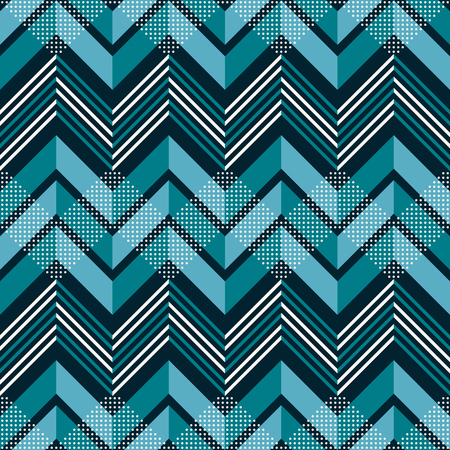 Seamless abstract geometric pattern of multiple zigzag with dots in blue and white colors
