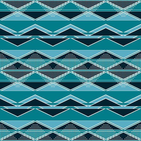 Seamless abstract geometric pattern of complex zigzag and dots in blue and white colors