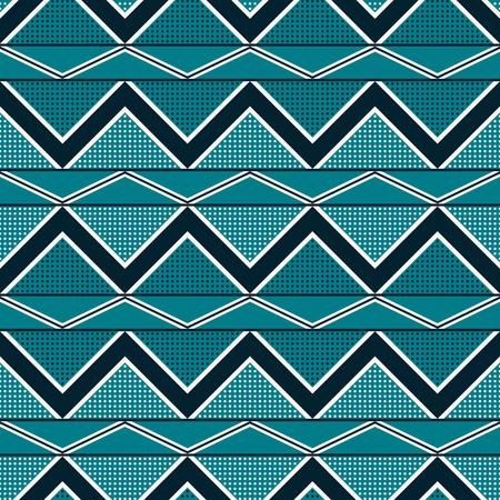 Seamless abstract geometric pattern of horizontal stripes with zigzag and dots in blue and white colors