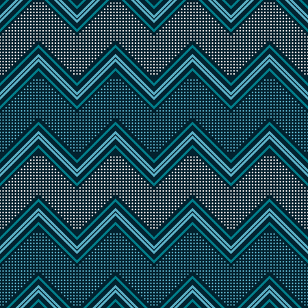 Seamless abstract geometric pattern of horizontal zigzag and dots in blue and white colors Illustration