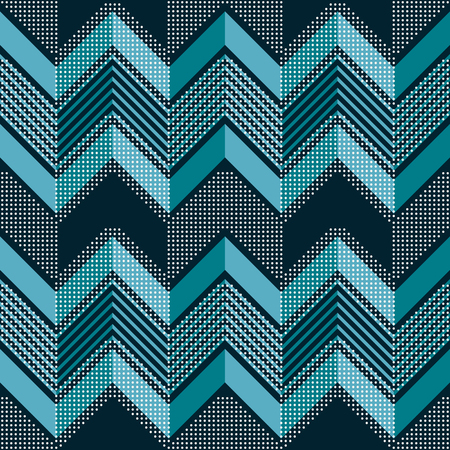 Seamless abstract geometric pattern of corrugated zigzag with dots in blue and white colors