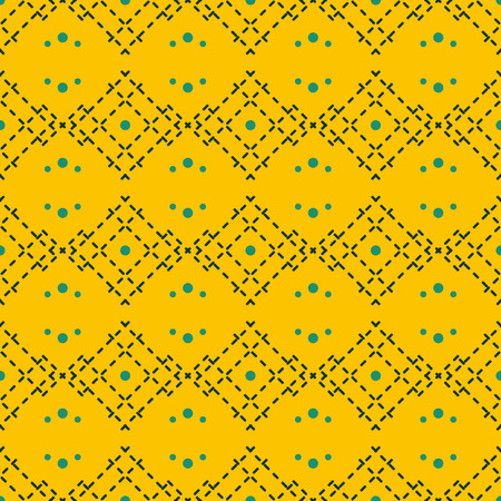 Seamless abstract geometric pattern of dots and dashed lines in trendy mustard yellow color Ilustração