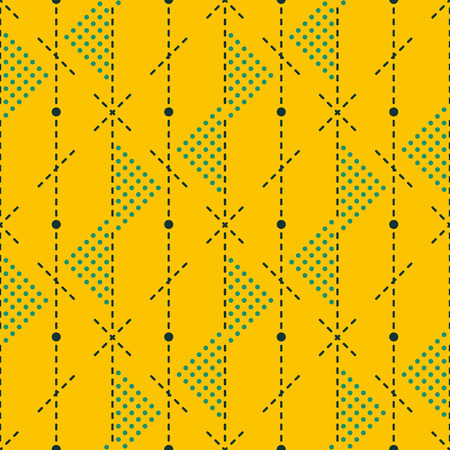 Seamless abstract geometric pattern of dots and dashed lines in retro blue and mustard colors Illustration