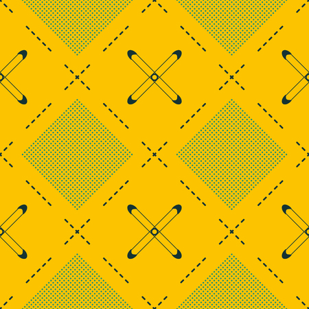 Seamless abstract geometric pattern of dots and dashed lines in mustard and blue colors