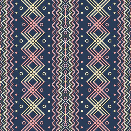 Seamless geometric pattern, boho chic style. Yellow, blue, pink colors. Ethnic motifs