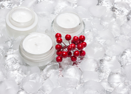 Glass jars of cream with bunch of red berries surrounded by ice cubes. Cooling effect moisturizing skin care products Foto de archivo