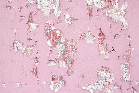 Old shabby wall texture with cracked peeling pink paint. Abstract background