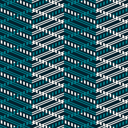 Seamless abstract geometric pattern of multiple zigzag. Modern vector print with striped zig zag lines in blue and white colors