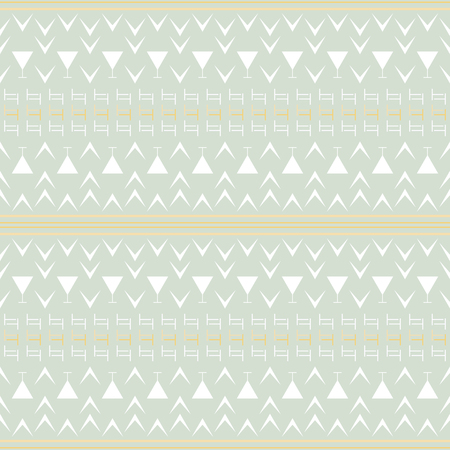 Seamless abstract geometric pattern in pastel colors. Simple vector print with stripes, T and V shapes