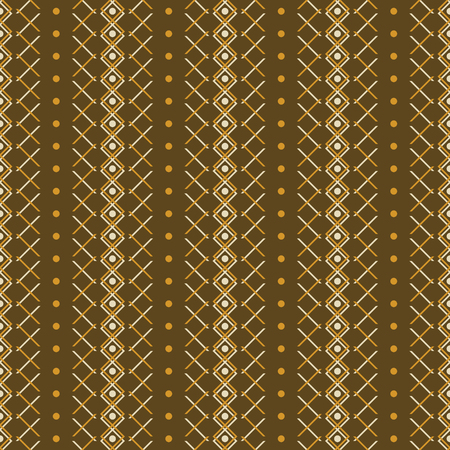 Seamless abstract geometric pattern in brown and orange colors. Simple elegant vector ornament in rustic style