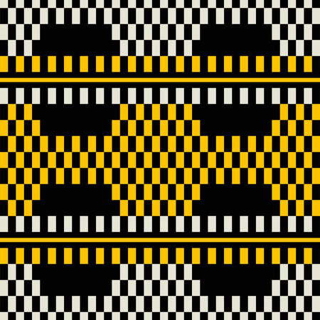 Seamless geometric print of wide horizontal stripes with chessboard pattern inside. Retro fashion print